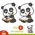 Find differences, education game, Panda