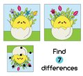 Find the differences educational children game. Kids activity sheet with Chicken in egg. Easter theme