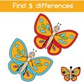 Find the differences educational children game. Kids activity sheet with butterfly