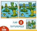 Find differences, game for children, Nine frogs