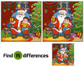 Find differences game: Santa Claus gives a gift a little boy Royalty Free Stock Photo