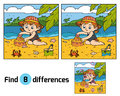 Find differences, girl builds a sand castle Royalty Free Stock Photo