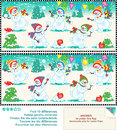 Find the differences picture puzzle christmas snowmen or new year visual ten between two pictures playful happy at a party Royalty Free Stock Images