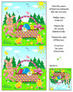 Find the differences picture puzzle with Easter bunny, eggs, chicks and basket