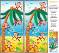 Find the differences picture puzzle - monkeys, beach, coconut palm Royalty Free Stock Photo