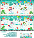 Find the differences picture puzzle playful snowmen christmas or new year visual ten between two pictures happy at a christmas Royalty Free Stock Image