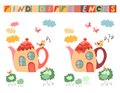 Find differences between two beautiful fairy houses - teapots.