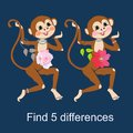 Find differences. Visual game for children and adults with cheerful unusual characters.
