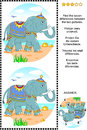 Find the differences visual puzzle with elephant Royalty Free Stock Photo