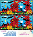 Find the differences visual puzzle halloween night ten between two pictures pumpkin field ruines cemetery ghosts bats black Royalty Free Stock Photos
