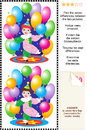 Find the differences visual puzzle little circus picture seven between two pictures of clown boy performing with colorful balloons Royalty Free Stock Photography