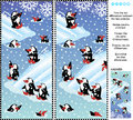 Find the differences visual puzzle playful penguins christmas winter or new year themed picture ten between two pictures of answer Stock Photo