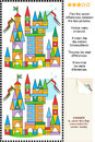 Find the differences visual puzzle toy town picture seven between two pictures of made of colorful building blocks answer included Royalty Free Stock Images