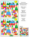 Find the differences visual puzzle toy town ten between two pictures of answer included Royalty Free Stock Photography