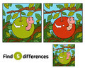 Find differences, Worm in apple Royalty Free Stock Photo