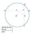 Find the distance from the center of the circle to the point of intersection of the chords