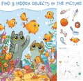 Find hidden objects. Cats looking at fish in an aquarium Royalty Free Stock Photo