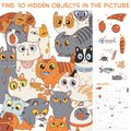 Find 10 hidden objects in the picture. Group of different cats Royalty Free Stock Photo
