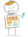 Find a job doodle stick figure business man marking classified from newspapers Royalty Free Stock Images