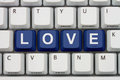 Find love on the internet looking for computer keyboard with word Stock Image