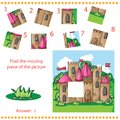 Find missing piece puzzle game for children with cartoon castle Royalty Free Stock Photo