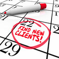 Find New Clients Words Calendar Prospect Selling Sales Royalty Free Stock Photo