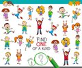 Find one of a kind game with happy children Royalty Free Stock Photo
