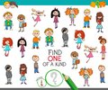 Find one of a kind game with kid characters Royalty Free Stock Photo