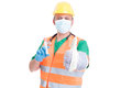 Find the perfect job concept with man wearing doctor medic builder and engineer clothes Stock Images