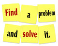 Find a problem and solve it words sticky notes new business on to illustrate vision for starting by meeting customer s need Royalty Free Stock Photography