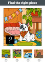 Find the right piece, game for children. Little dog