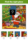 Find the right piece, game for children. Santa Claus