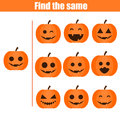 Find the same pictures children educational game. Halloween theme