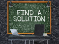 Find a Solution - Hand Drawn on Green Chalkboard. 3d