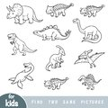 Find two the same pictures, education game. Set of dinosaurs