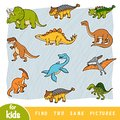 Find two the same pictures, education game, Set of dinosaurs