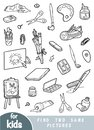 Find two the same pictures, game for children. Set of artists objects