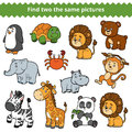 Find two the same pictures, vector set of zoo animals