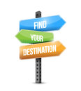 Find your destination road sign illustration Royalty Free Stock Photo