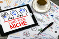 Find your niche concept on tablet pc Stock Photo