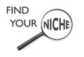 Find your niche magnifying glass focusing on the word over a white background Stock Images