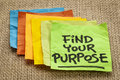 Find your purpose motivational reminder handwriting on sticky note Stock Photos