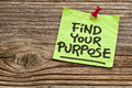 Find your purpose reminder motivational handwriting on sticky note against grained wood Royalty Free Stock Photography