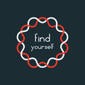 Find yourself in red and white sign Royalty Free Stock Photo