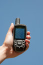 Finding the best gps signal a woman hand hold a device to find a and to find route Stock Images