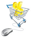 Finding best percentage rate online sign in a shopping trolley with computer mouse connected to it concept for shopping for Stock Images