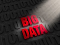 Finding big data a spotlight illuminates bold red on a dark background of s and s Royalty Free Stock Images
