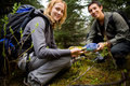 Finding a Geocache Royalty Free Stock Photos
