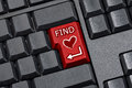 Finding love key computer keyboard top view of black desktop wireless with enter replaced with red Stock Photography