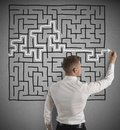 Finding the solution businessman of a maze Royalty Free Stock Photography